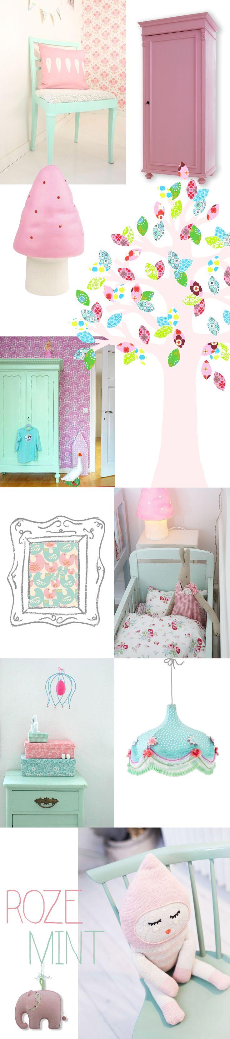 Babykamer in roze en mint