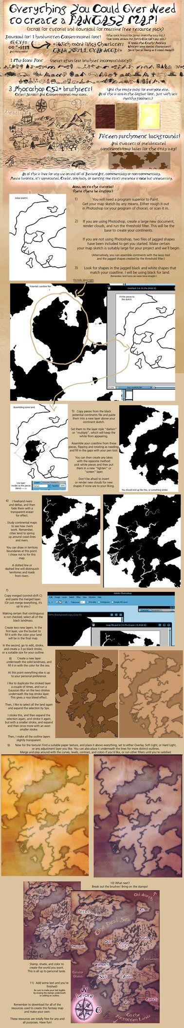 Fantasy Map Tutorialx website. Resources by calthyechild on DeviantArt.