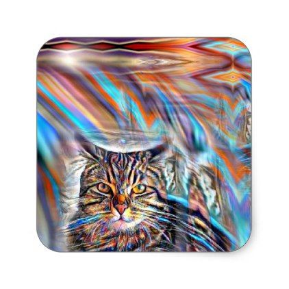 Adrift in Colors Tropical Sunset Cat Square Sticker - craft supplies diy custom design supply special
