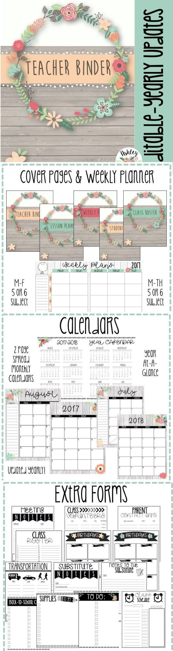 Editable Floral Themed Teacher Binder & Planner Pack! Over 100 pages of editable beauty to help keep teachers organized!