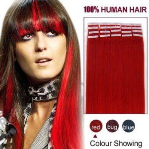 18 Inches Red 20pcs Tape In Human Hair Extensions by ALIHAIR. $45.47. High quality, tangle free, silky soft.. Can be washed, heat styled.. 100% Real remy human hair.. 200-300strands are recommended for whole head.. APPLICATION:1.Wash and condition the hair thoroughly. After washing, blow dry the hair so that it is straight with no styling products (do not grease or saturate the hair with any other oils). 2.Depending on the style of the extensions,For example, if you are d...