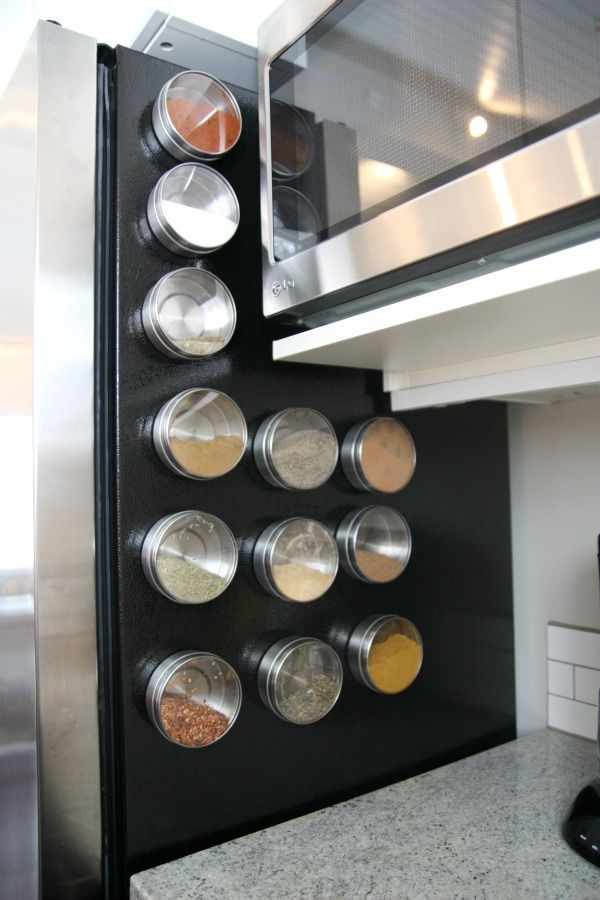 perhaps i should try storing all my most used spices on the side of the fridge - Spice Storage