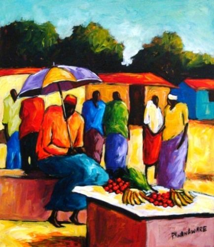 Acrylic Painting - Sitting in the Sun by Peter Kwangware