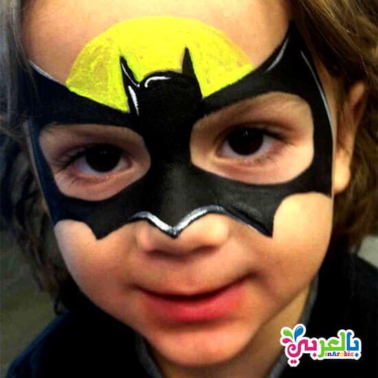 رسوم بات مان على وجوه الاطفال الرسم على وجوه الاطفال بالعربي نتعلم Face Painting For Boys Superhero Face Painting Face Painting Halloween