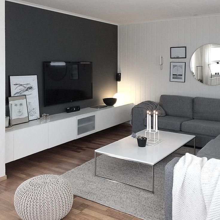 Grey Wall Tv Room Grey White Colour Scheme Colour Grey Greywhite Room Sch Living Room Design Small Spaces Living Room Grey Gray Living Room Design