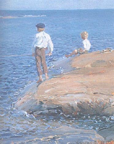 Fiskande gossar vid Porkkala udde by Venny Soldan-Brofeldt
