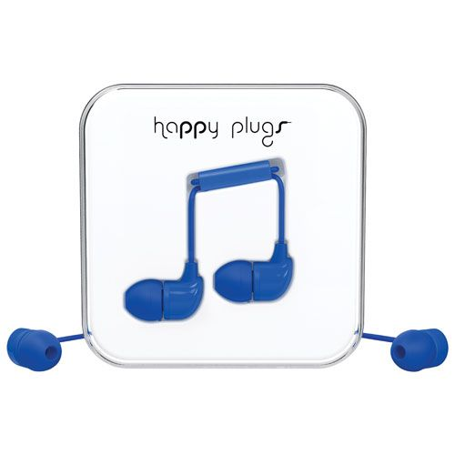 Happy Plugs In-Ear Sound Isolating Headphones with Mic - Cobalt