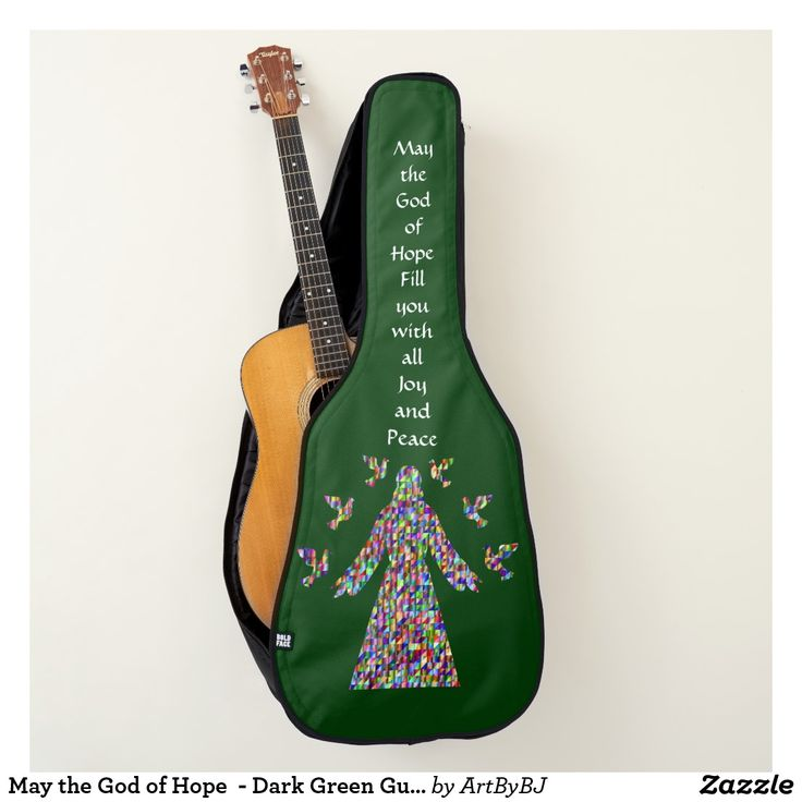 May the God of Hope  - Dark Green Guitar Case. New Range of Guitar Cases specially designed for Church bands and musicians, or any Christian singing praises to God. . . . Some with a Decorative Cross, others with Bible verses,  IHS logo's and more. . . . So whether you are playing  music for the Church Band, modern hymns or Gospel singing groups, these Cases for your Acoustic Guitars and Electric Guitars are just the thing!  . . . . . Visit to see them all - you'll find AT LEAST one you'll…