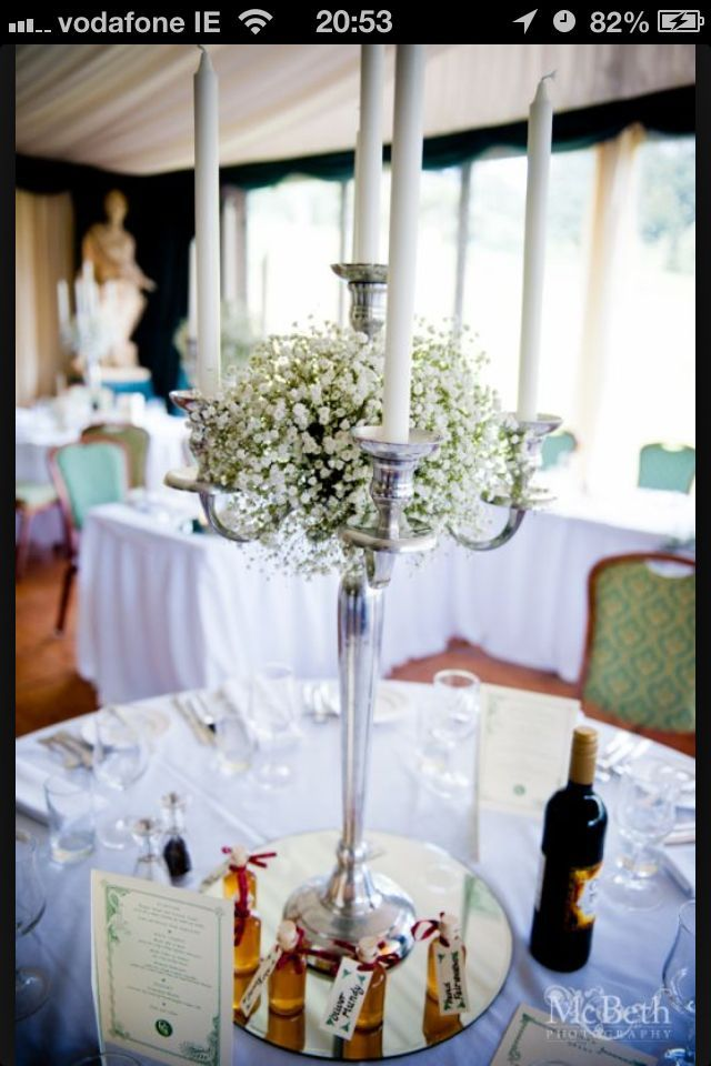 Candelabra with gypsophilia (baby's breath)-a bit small