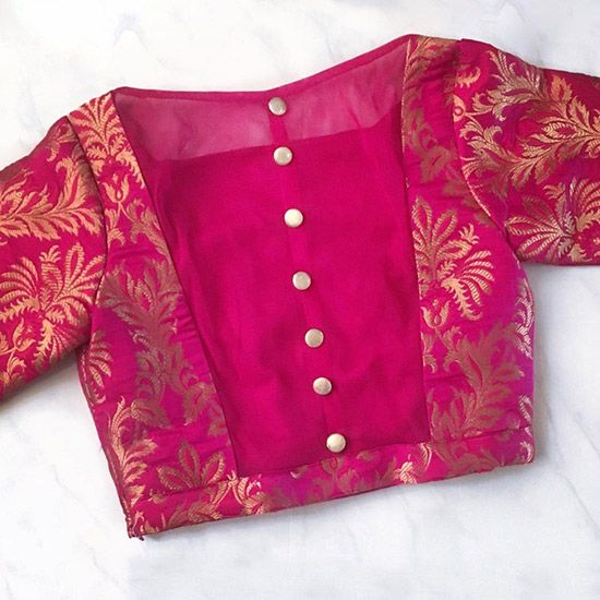 Silk Saree Blouse Designs - Pink Blouse In Banaras And Silk