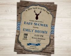 Rustic Deer Baby Shower Invitations Navy and by SwankyDesignCo