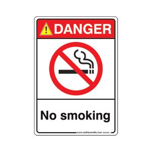 "NO SMOKING STICKER 10"" x 7"" DANGER"
