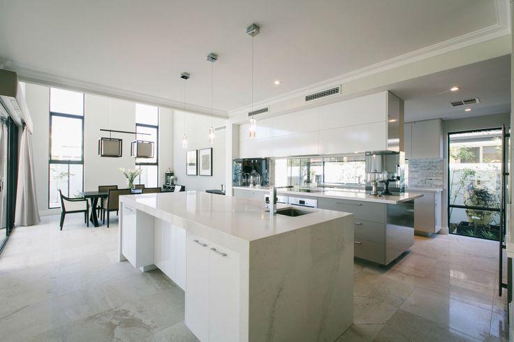 Lauren Interiors Caesarstone Calacatta Nuvo White Marble Kitchen Island