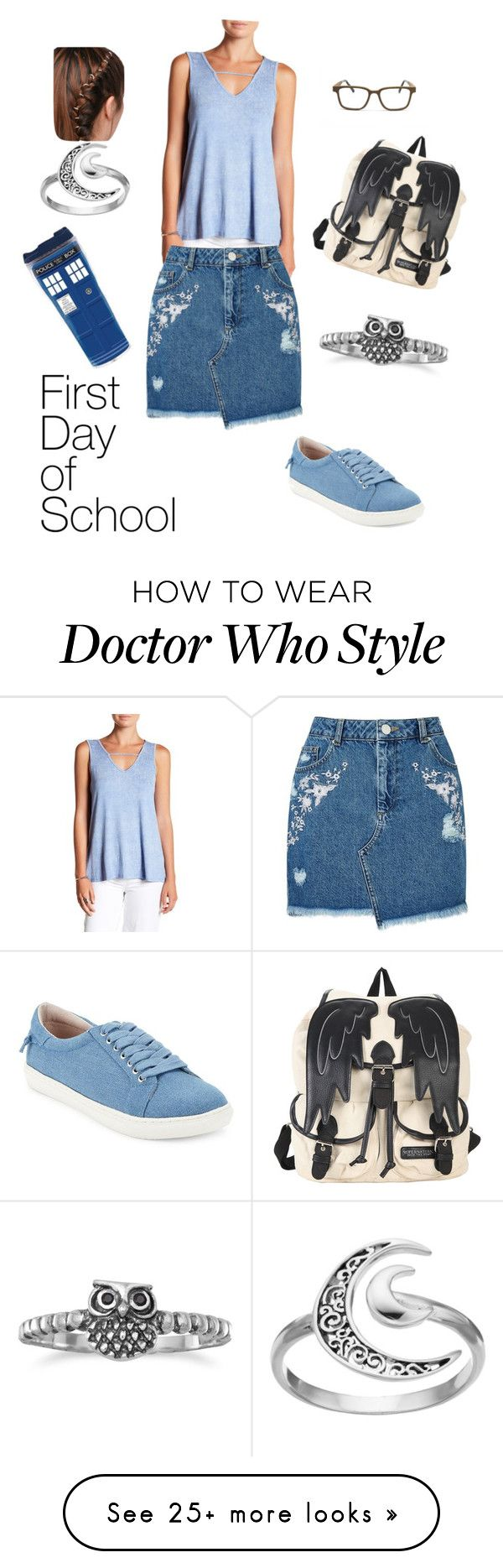 """1st day blues"" by tluebke on Polyvore featuring Hot Topic, Paper Crane, Miss Selfridge, J/Slides, Primrose and BillyTheTree"