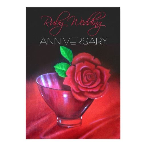 40th Ruby Wedding Anniversary Red Rose 5x7 Paper Invitation Card