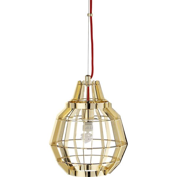 Cage Pendant Brass light from CB2. Bought three to hang in my dining room!