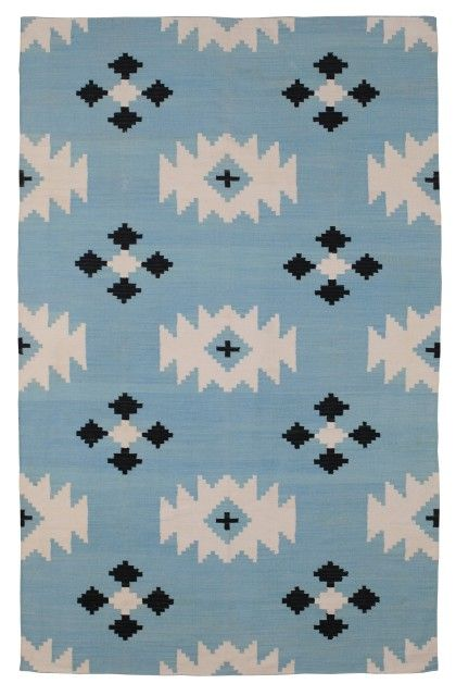 The Rug Company dhurries are just sublime - love this cool blue version!