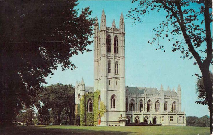 """Inv# 0205 Chapel at Trinity College Hartford, Connecticut 1950s. Date Not Listed. Unused Good Condition This is a standard size 3.5"""" x 5.5"""" vintage postcard. Postcards are shipped in hard plastic slee"""