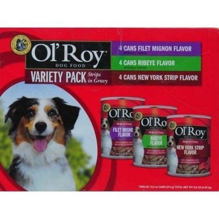 Ol' Roy Variety Pack Strips in Gravy Wet Dog Food, 13.2 Oz, 12 Ct