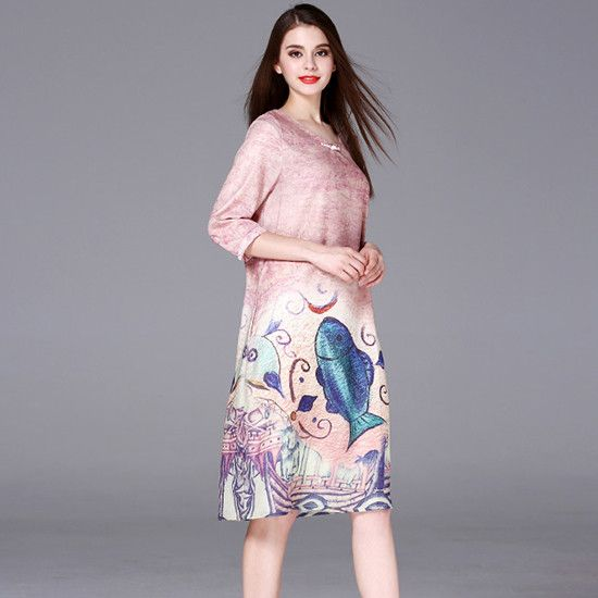Free Shipping - Vintage Midi Vestidos Ladies 2017 Summer Style Fish Animal Prints Half Sleeve Loose Plus size A-line Shirt Dress Top