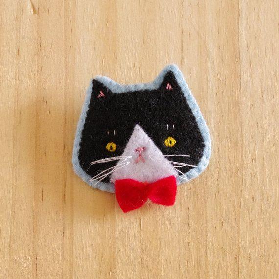 Panko the Cat Hand Embroidered Felt Brooch by eevamargita on Etsy, $36.00