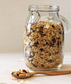 Easy Granola Recipe (4 Cups Oats, 1 Cup Sliced Almonds, 1/2 Cup Unsweetened Shredded Coconut, 1/4 Cup Flax Seeds, 1/2 Cup Honey, 1/4 Cup Melted Coconut Oil, 1 Teaspoon Kosher Salt, Bake 350 Degrees F for 30 Minutes, Stirring After 15 Minutes, Then Toss in 1/2 Cup Dried Cranberries and 1/2 Cup Dried Blueberries (Or Switch Half the Honey for Applesauce))