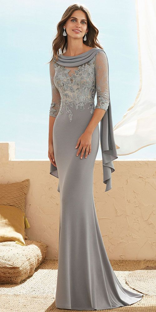 bed218a2e0 Elegant Tulle   Spandex Jewel Neckline Sheath Column Mother Of The Bride  Dresses With Lace