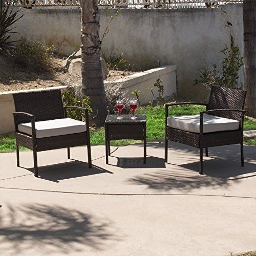 Outdoor Patio Furniture Wicker Set Chairs 3Pcs Coffe Table Garden Yard Brown NEW #Kbrand