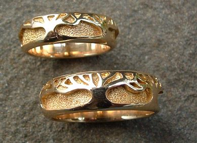 Tree Of Life #1: Tree of Life wedding ring set in 14k yellow gold.