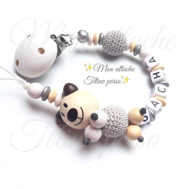 Attache t tine personnalis e perles en bois mod le ours nature sacha attache tetine tuto - Accroche tetine personnalise ...