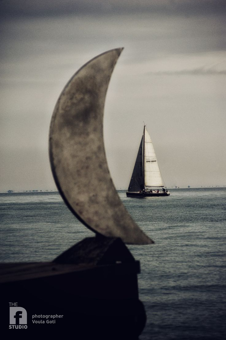 Thessaloniki bay area #sea #moon #sailing