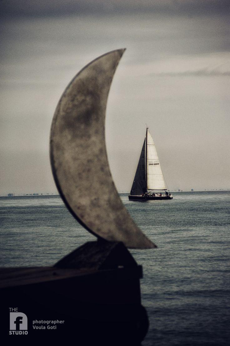 Thessaloniki bay area #sea #moon #sailing
