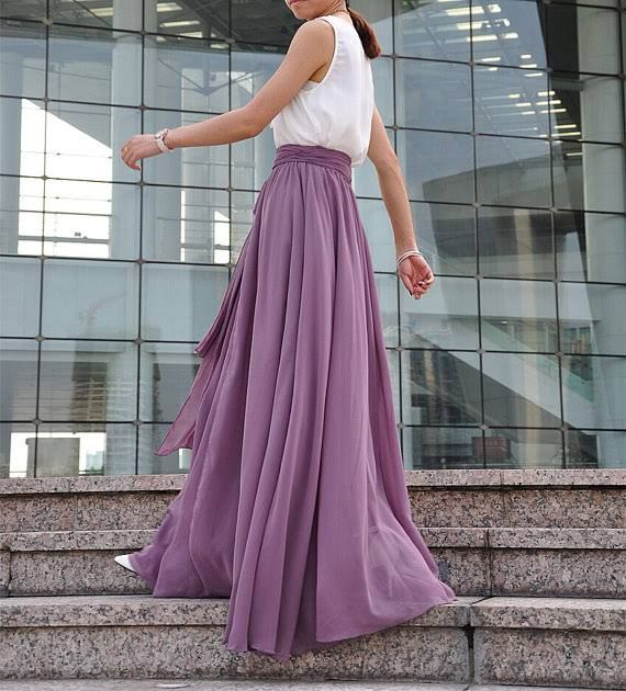 purple maxi skirt