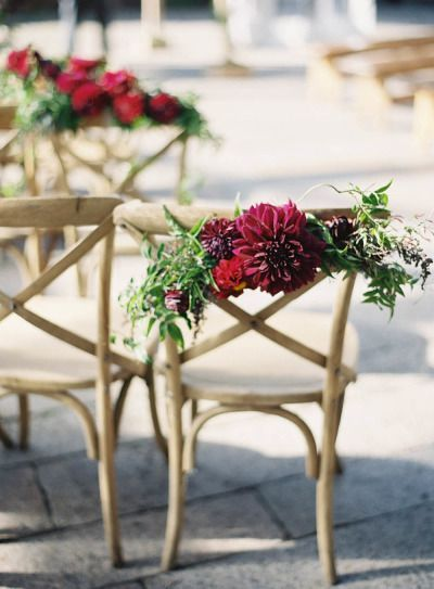 Flower chair decor: http://www.stylemepretty.com/2014/09/08/romantic-autumn-wedding-at-the-foundry/   Photography: Jen Huang - http://jenhuangblog.com/