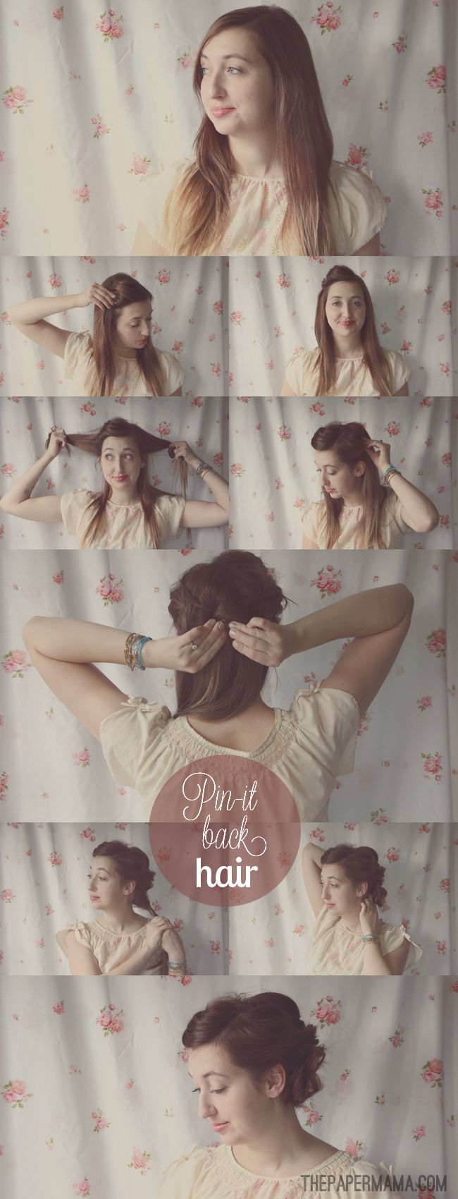 Pin-it Back Hair Tutorial. Simple DIY hair style.Diy Hairstyles, Hair Tutorials, Bangs Style Hair Up Dos, Simple Diy, Cutest Hairstyles, Adorable Hairstyles, Hair Style, Paper Mama, Bobby Pin