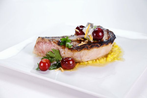 ... Jardins' Grilled Pork Chops With Cherry Almond Salsa And Creamed Corn