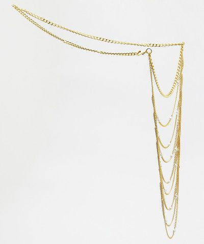 Gold Chain and Pearls Shoulder Necklace. $ 55.00
