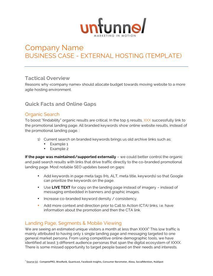 External Website Hosting Business Case Free Template Business Case Website Hosting Online Campaign