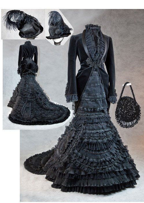 Exquisite Edwardian mourning Dress and accessories - c.1905
