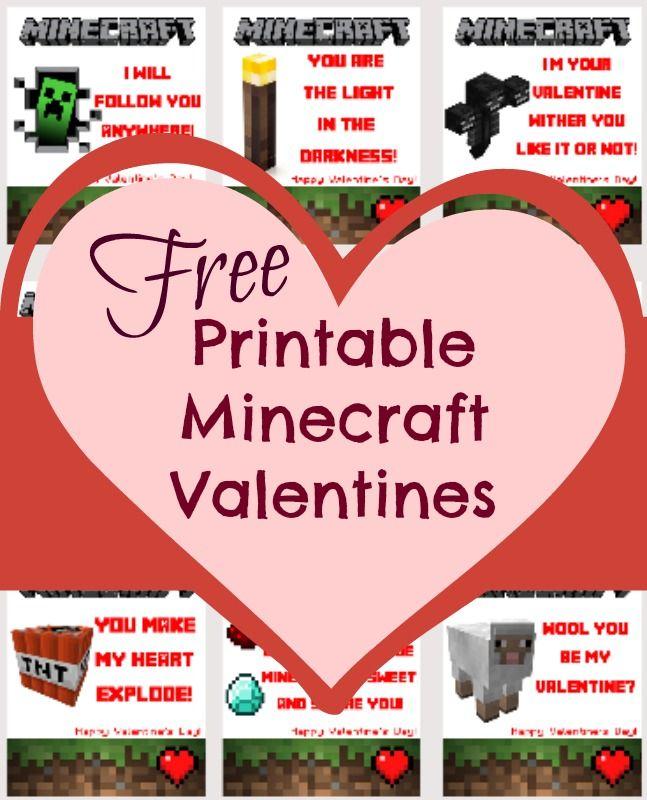 *FREE* Printable Minecraft Valentines