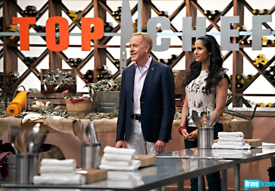 Chef Patrick O'Connell and Padma Lakshmi. Top Chef TV show.