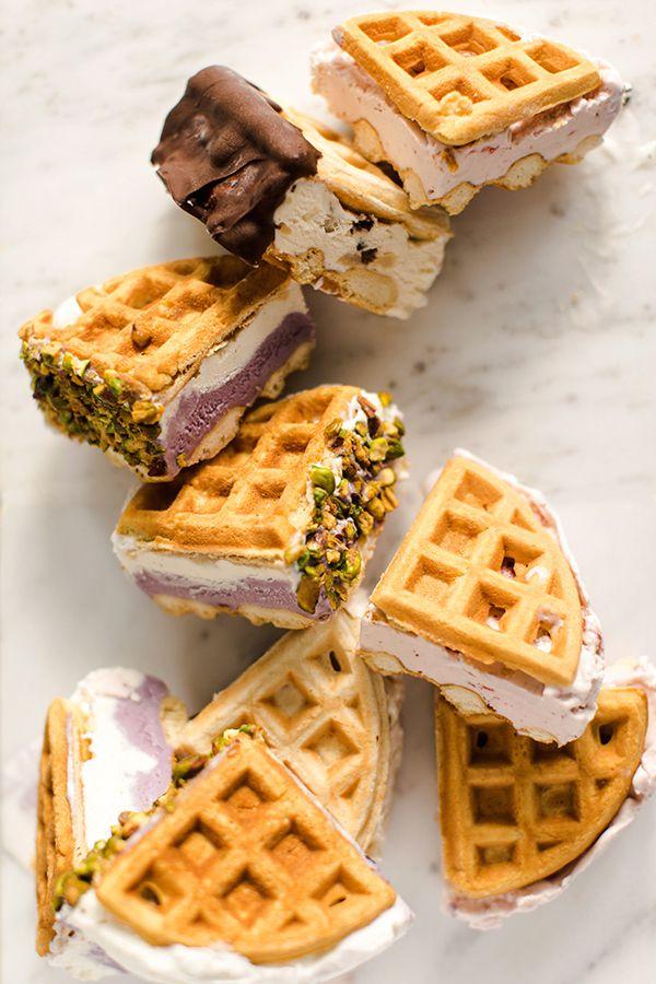 Belgian Waffle Ice Cream Sandwiches
