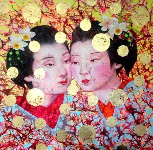 Annette Thea Bezor (b.1950) Australia Quiet Violent acrylic and gold leaf o