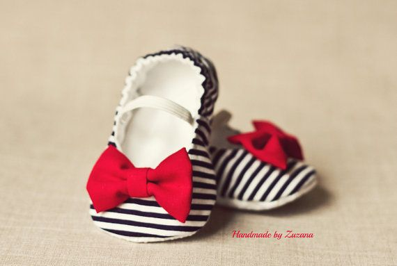 Fabric baby shoes, baby girl shoes, nautical baby girl shoes, navy blue and white fabric with red bow on Etsy, $18.00