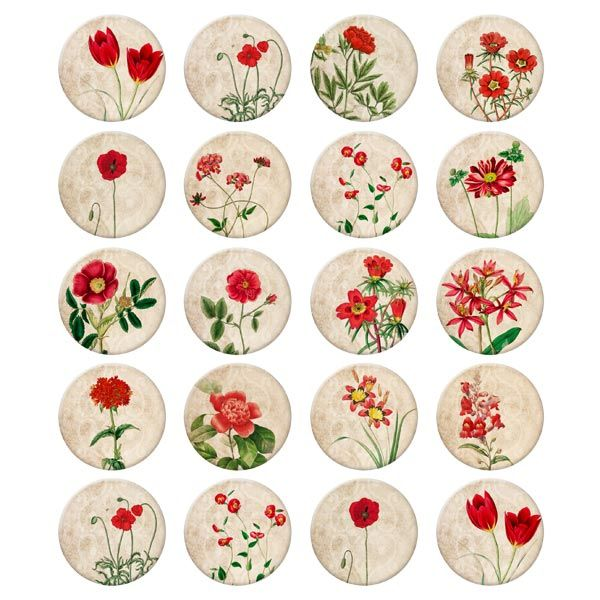 Vintage Floral Digital Collage Sheet,40x40mm Round Image for bottle cap jewelry, scrapbooking, keychain pendant  www.etsy.com/...