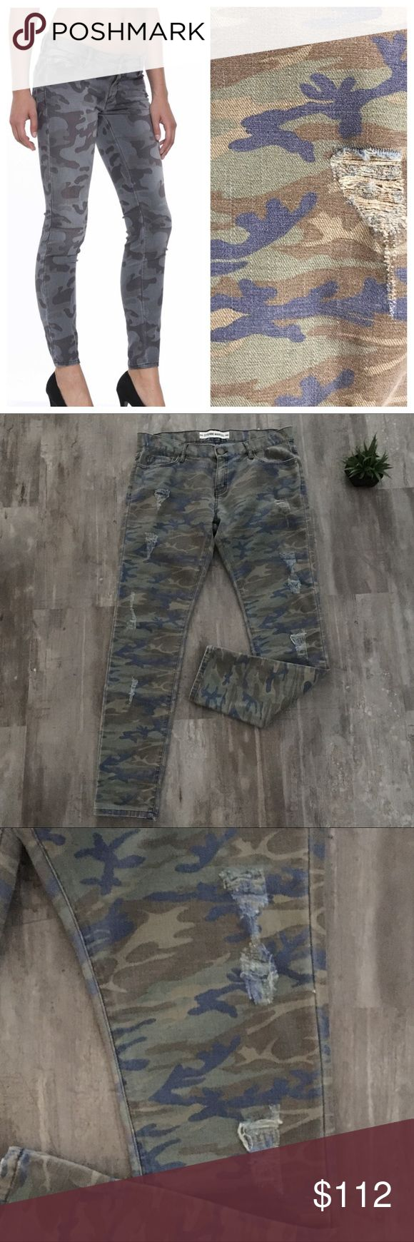 "Etienne Marcel👖Camo Skinny in Green, Blue, Brown Beautiful preloved condition, no stains or marks. Exact same skinny style as shown, just in different color camo. Beloved by celebs, Etienne Marcel's camp skinny jeans are lightweight, distressed, have some stretch and can be dressed up or down. Shell: 97% cotton, 3% elastane, Pocket Lining: 65% polyester, 35% Cotton, waist measures 17.5"", 9.5"" rise, Front and back pockets, button closure and zip fly, five pocket style, knee appx 14"" and…"