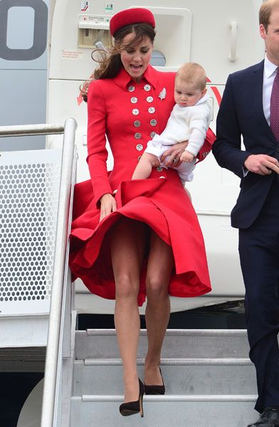 Blown Away! Wind Gust Welcomes Kate Middleton, Prince George To New Zealand -- Almost Causes MAJOR Wardrobe Malfunction