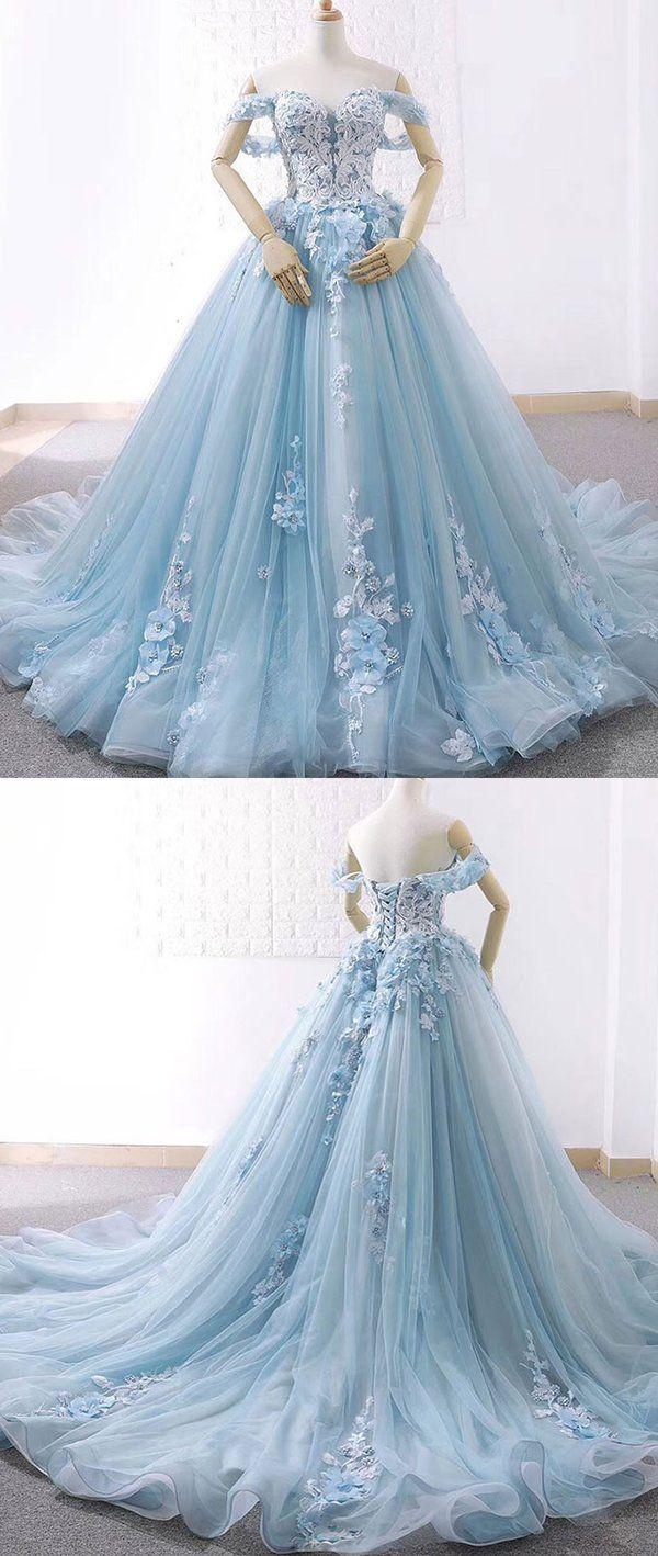 344115f3dd Blue sweetheart tulle lace long prom dress