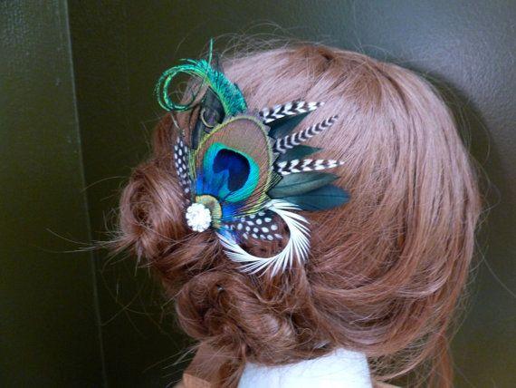"""Bridal peacock hair accessories """"Liana"""""""