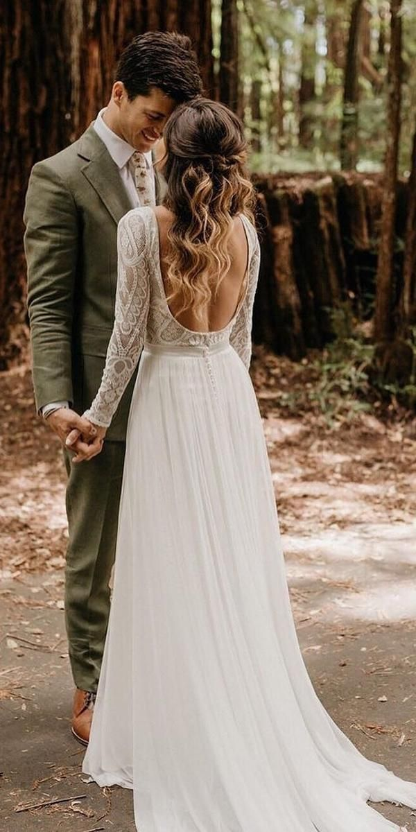 27 Bohemian Wedding Dress Ideas You Are Looking For ❤️  bohemian wedding dress a line with long sleeves open back country florabridal #weddingforward #wedding #bride #weddingdress #bohowedding